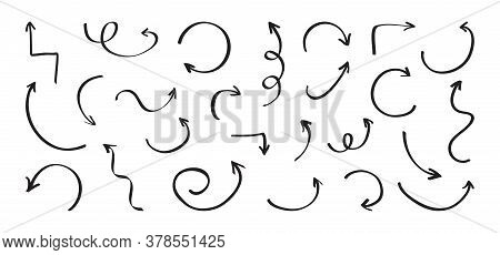 Black Different Arrow Icons Hand Drawn Isolated On White Background. Vector Illustration