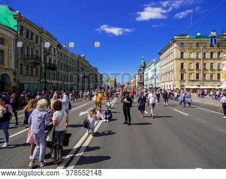 St. Petersburg, Russia - July 26, 2020: View Of The Annual Celebrations For The Navy Day On Nevsky P