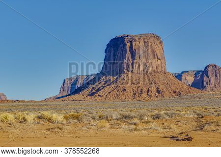 Majestic Rock Formation In The Manoment Valley National Park In Winter