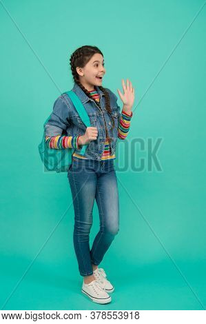 Giving High Five. Happy Kid Blue Background. Little Child In Casual Style. Fashion Trends. Trendy St