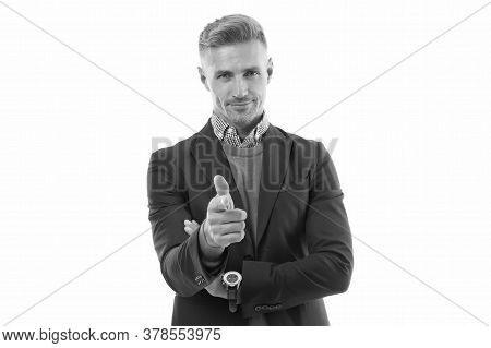 You Can Do It. Happy Businessman Pointing Index Finger Isolated On White. Pointing Gesture And Gestu