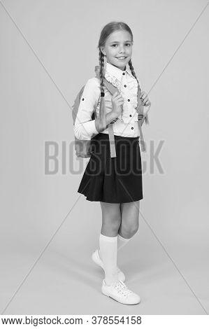 Knowledge Day. Childhood Development. School Girl Wear Uniform. Pretty Little Girl Ready To Study. B