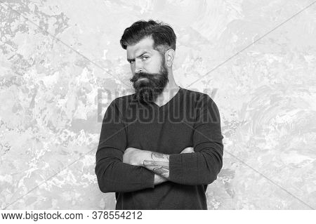 Tattooed Macho. Manhood. Good Looking Guy. Grow Facial Hair. Hipster Appearance. Stylish Beard And M