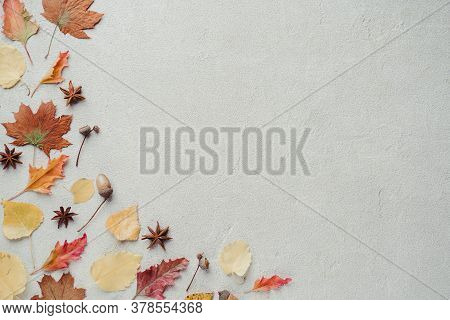 Autumn Season Abstract Background. Fall Yellow Leaves Frame On Stone Surface. Thanksgiving Day, Seas