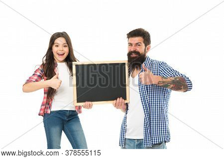 Awesome News. Small Girl With Dad On White Background. Happy Childhood. Advertising Or Promotion. Fa