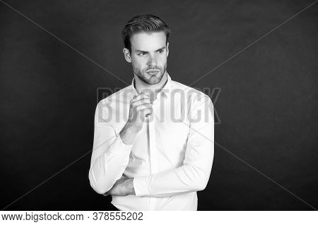Classy And Elegant. Handsome Man Dark Background. Man In Classic Style. Caucasian Man With Unshaven
