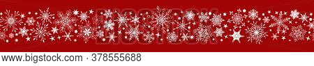 Christmas Banner Of Various Complex Big And Small Snowflakes With Horizontal Seamless Repetition, Wh