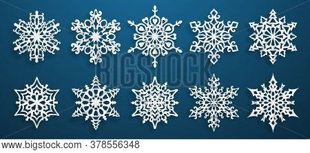 Set Of Beautiful Complex Paper Christmas Snowflakes With Soft Shadows, White On Blue Background