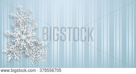 Christmas Background With Several Paper Snowflakes With Soft Shadows On Light Blue Striped Backgroun