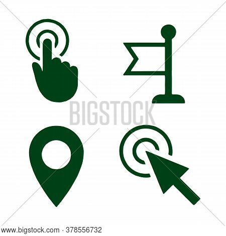 Mouse Cursor Icon. Hand Or Flag Pointer Symbols. Map Location Marker Sign. Flat Icons On White. Vect