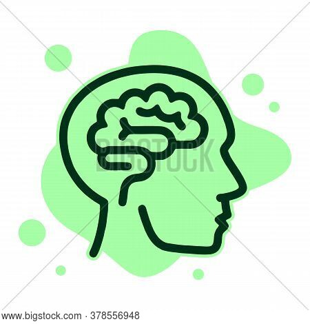 Human Think Brain Icon. Outline Human Think Brain Vector Icon For Web Design Isolated On White Backg