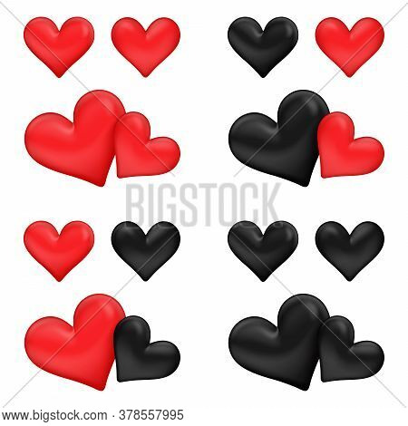 Vector Illustration, Red And Black Couple Hearts Symbol Element 4 Color Style Red&red, Black&red, Re