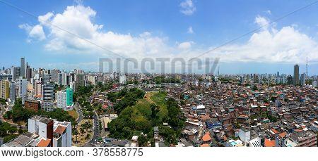 Panoramic Skyline Salvador Bahia Brazil. Social Contrast. Buildings And Slum