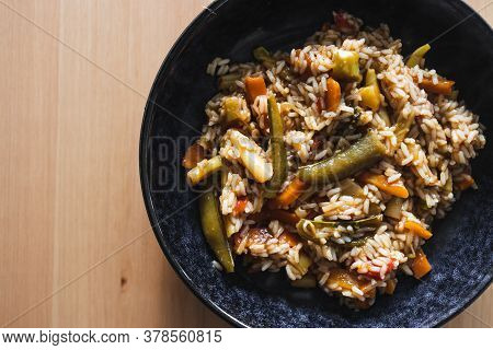 Healthy Plant-based Food Recipes Concept, Vegan Fried Rice With Stir Fry Vegetables In Sweet And Sou