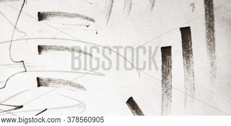 Brush Stroke Template. Gray Brush Ink Painting. Calligraphy Grungy Brushstroke Illustration. Backgro