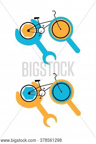 Vector Flat Illustration Abstract Bicycle Repair Logo. It Shows Bicycle With Magnifying Glass And Wr