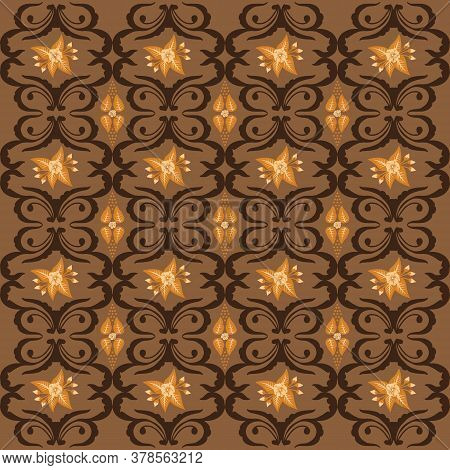 Elegant Jogja Batik With Flower Pattern And Golden Brown Color Design Of Seamless.