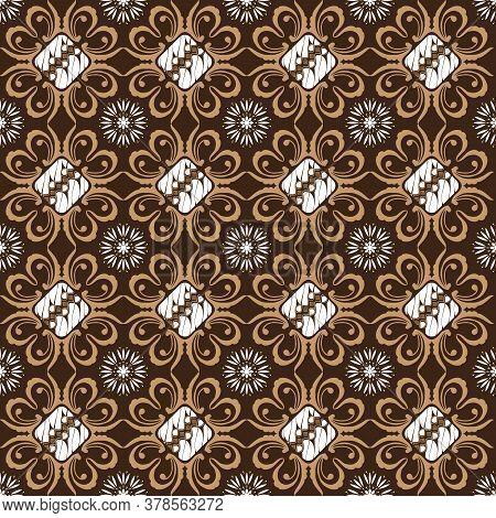 The Unique Flower Motifs On Solo Batik Design With Simple Mocca Color Design.