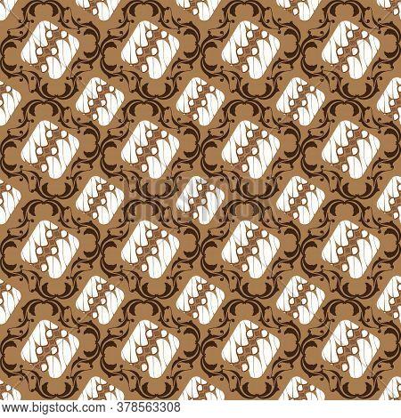 Simple Pattern On Central Java Batik Design With White Brown Color Design.