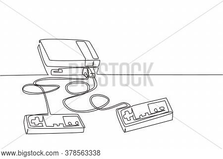 One Continuous Line Drawing Of Retro Old Classic Console Video Game Player. Vintage Arcade Game Item