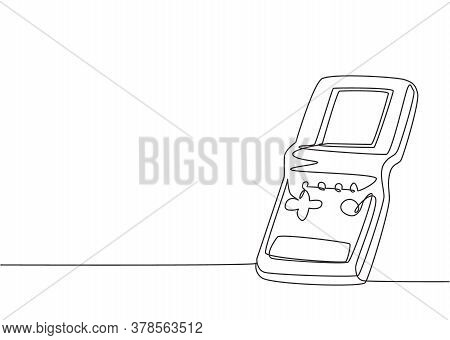 One Single Line Drawing Of Retro Old Classic Portable Tetris Game. Vintage Game Watch Item Concept C
