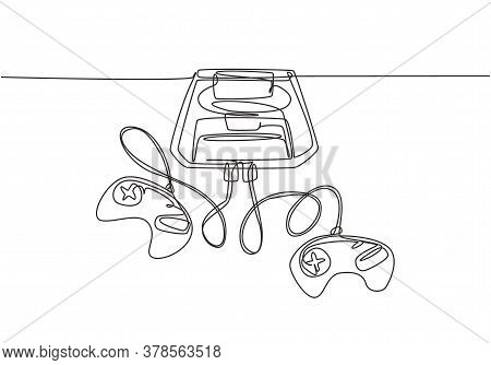 One Single Line Drawing Of Retro Old Classic Console Video Game Machine. Vintage Arcade Game Item Co