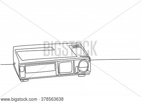 Single Continuous Line Drawing Of Retro Old Classic Video Player. Vintage Analog Vhs Video Machine C