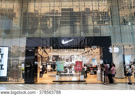 Singapore, 24 Jul, 2020: Nike Shop Located Inside The Jewal Changi Airport In Singapore. Jewel Chang