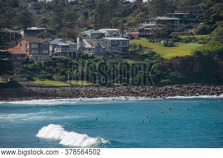 People Surfing On Beach, View From Nsw, Australia, Sydney 2018