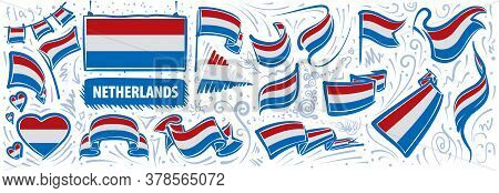 Vector Set Of The National Flag Of Netherlands In Various Creative Designs