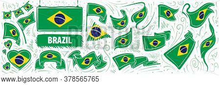 Vector Set Of The National Flag Of Brazil In Various Creative Designs