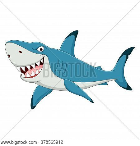 Vector Illustration Of Cartoon Funny Shark Isolated On White Background