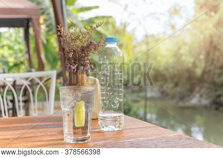 Refreshing Drink Glass Of Water With Slice Of Lime.