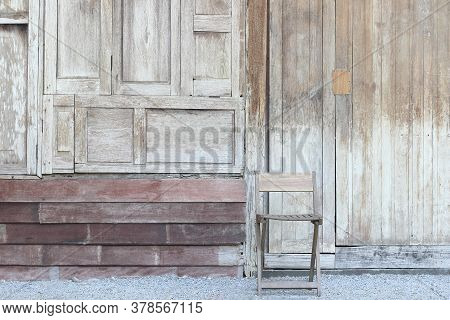 Old Wood Wall With Window Chair For Background.