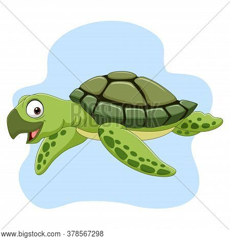 Vector Illustration Of Cartoon Sea Turtle Swimming In The Ocean
