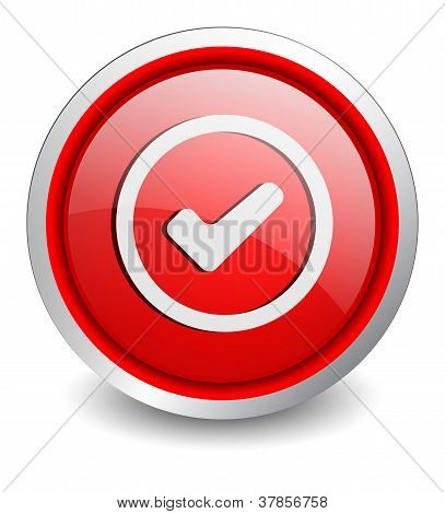 Check red button - design web icon