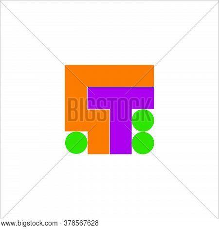 Letter Ct Square Dots Geometric Colorful Design Logo Vector