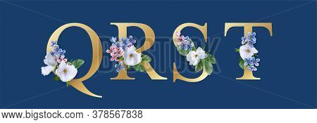 Floral Font. Letters Q, R, S And T. Wedding Alphabet. Initials With Realistic Botanical Elements