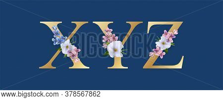 Floral Font. Letters X, Y, Z. Wedding Alphabet. Initials With Realistic Botanical Elements
