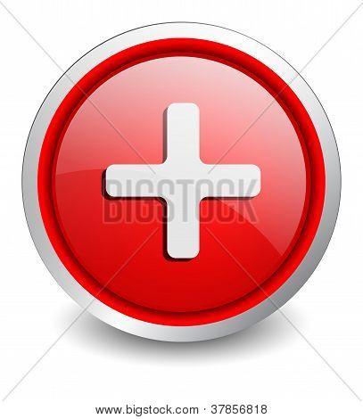 Plus red button - design web icon