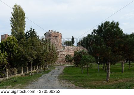 Istanbul,turkey - November 4, 2019:the Walls Of Ancient Constantinople. Anemas Prison. Istanbul. Tur