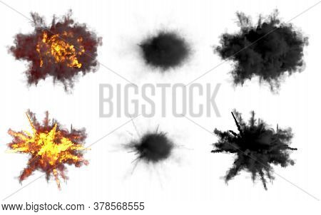 6 Round Explosions Of Anti Aircraft Gun Shell Hit Or View From Top On Bangs Or Missile Interception