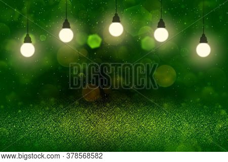 Nice Bright Abstract Background Glitter Lights With Light Bulbs And Falling Snow Flakes Fly Defocuse