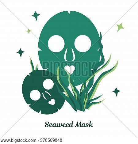 Illustration With Beauty Masks For Face Skin. Skin Care Masks Based On Seaweed, Green Algae. Natural