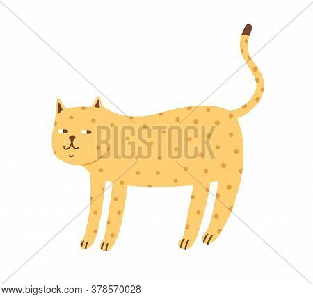 Cunning Cute Spotted Cat Vector Flat Illustration. Funny Hand Drawn Domestic Animal Decorated With D