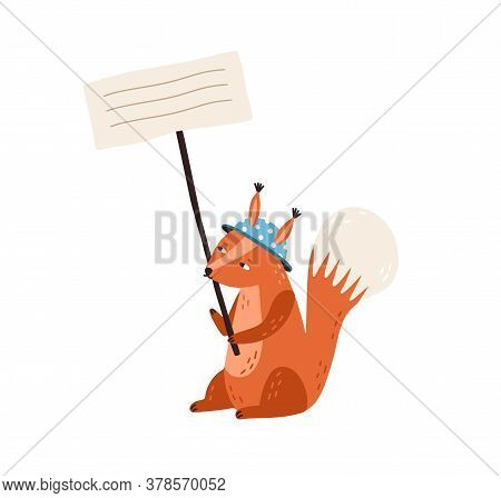 Cute Squirrel In Funny Hat Holding Empty Banner With Place For Text Vector Flat Illustration. Adorab