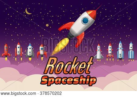 Set Rockets Collection. Start Up Launch. Assets Spacecraft For For Mobile Game Design. Retro Vector