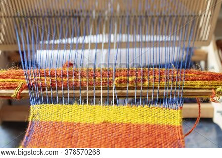 An Old Hand Loom. Handloom. Fabric Production.