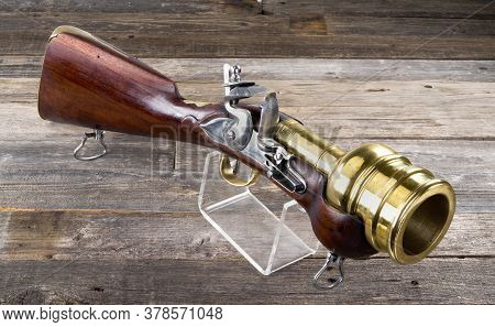 Flintlock Hand Mortar/ Grenade Launcher With Massive 2.5 Inch Brass Barrel.