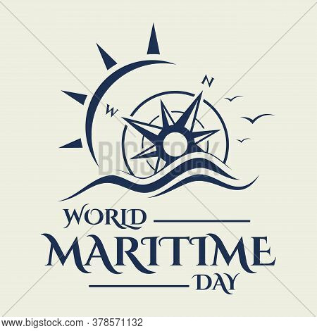 World Maritime Day With Compass In Flat Style. Holidays Around The World Of Maritime Day. Vector Ill
